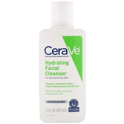 CeraVe, Hydrating Facial Cleanser, For Normal to Dry Skin, 3 fl oz (87 ml)
