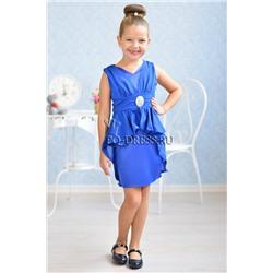 1f7a4b4604a5c9d Платье нарядное для девочки арт. ИР-1514-1 короткий шлейф, цвет электрик