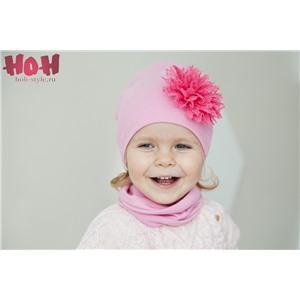 В-013 Двухслойная удлиненная шапка с цветком (на фото - розовый)