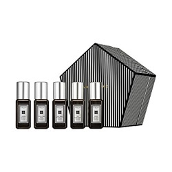 Набор Jo Malone Cologne Collection (Lime Basil & Mandarin + English Pear & Freesia + Nectarine Blossom & Honey + Pomegranate Noir + English Oak & Redcurrant) синяя коробка пятиугольник
